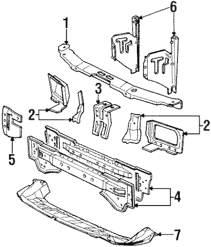 RADIATOR SUPPORT for 1995 Ford Contour