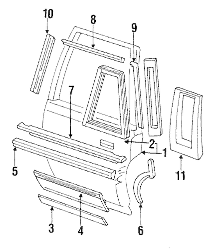 DOOR & COMPONENTS for 1990 Cadillac Brougham