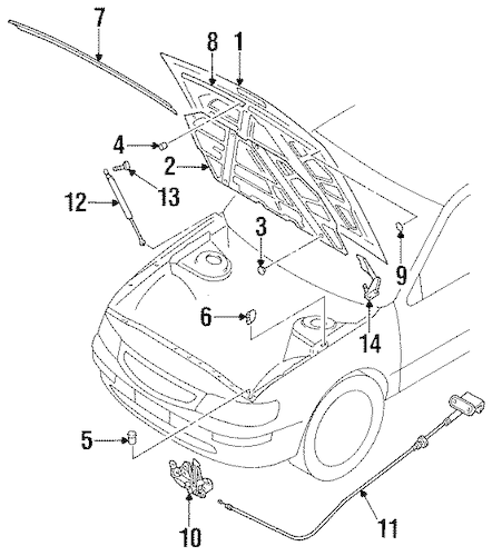HOOD & COMPONENTS for 1997 Nissan Maxima