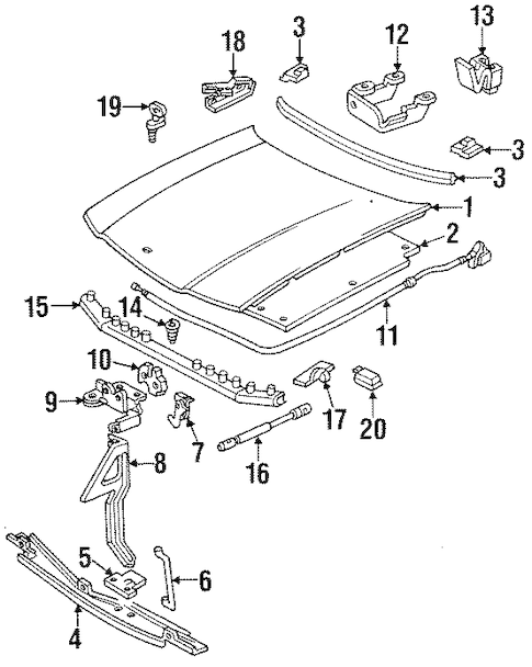 HOOD & COMPONENTS for 1996 Chevrolet Impala