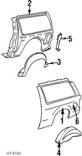 QUARTER PANEL & COMPONENTS for 1990 Chevrolet S10 Blazer