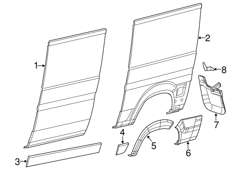 SIDE PANEL & COMPONENTS for 2014 Ram ProMaster 1500