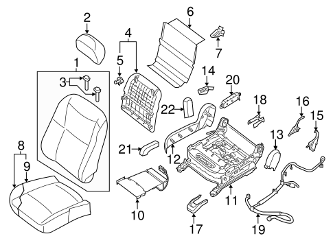 PASSENGER SEAT COMPONENTS for 2015 Nissan Altima