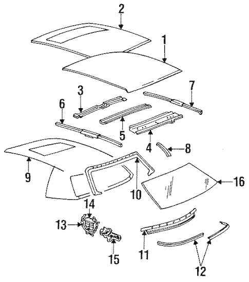ROOF & COMPONENTS for 1994 Cadillac Fleetwood