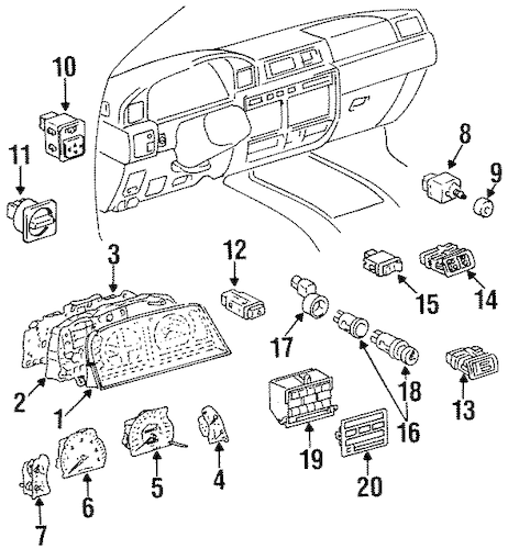 Genuine OEM CLUSTER & SWITCHES Parts for 1996 Toyota Land