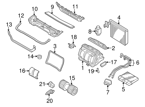 EVAPORATOR & HEATER COMPONENTS for 2010 BMW X3