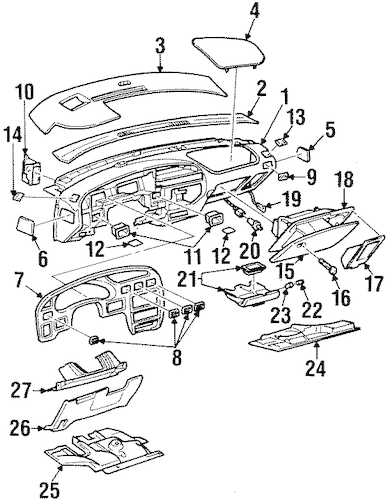 INSTRUMENT PANEL COMPONENTS for 2002 Pontiac Grand Prix