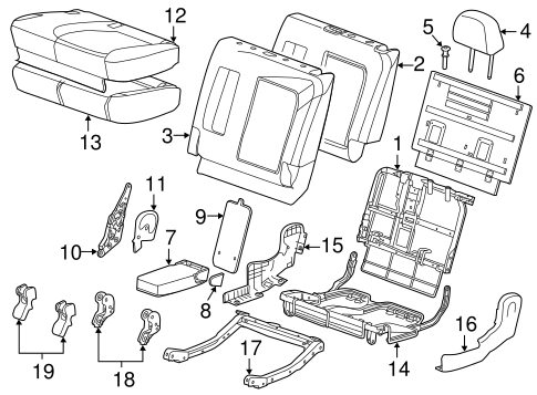 REAR SEAT COMPONENTS for 2013 Chevrolet Captiva Sport