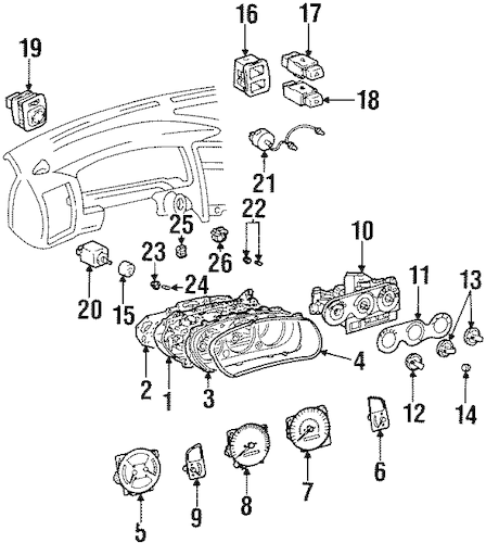 CLUSTER & SWITCHES for 1998 Chevrolet Prizm