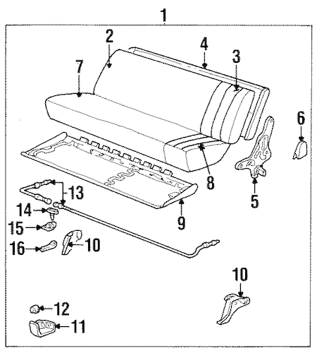 BODY/REAR SEAT COMPONENTS for 1989 Chevrolet K1500 Pickup #1