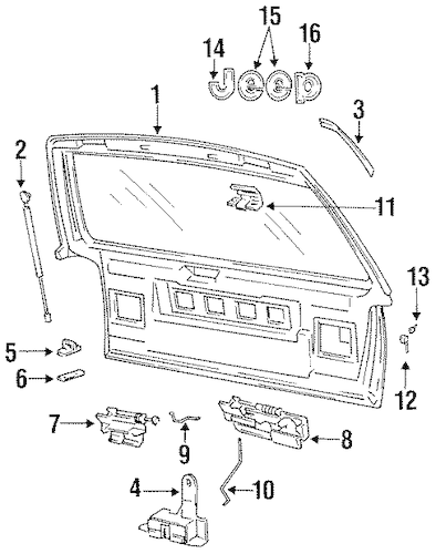 GATE & HARDWARE for 1996 Jeep Grand Cherokee