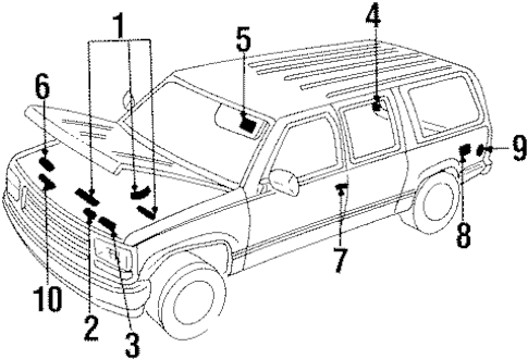 LABELS for 1993 GMC Suburban K1500