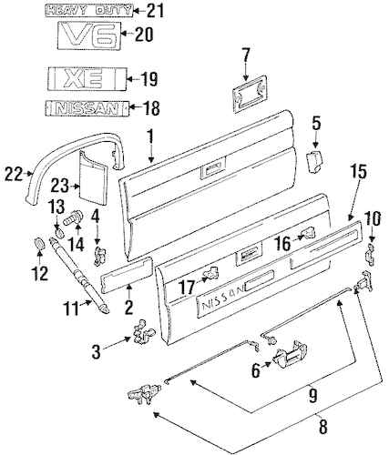 TAIL GATE for 1991 Nissan D21