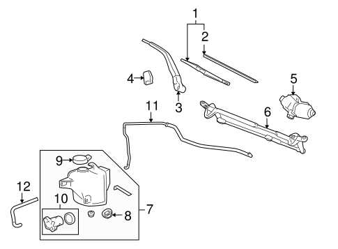 WIPER & WASHER COMPONENTS for 2007 Hummer H3