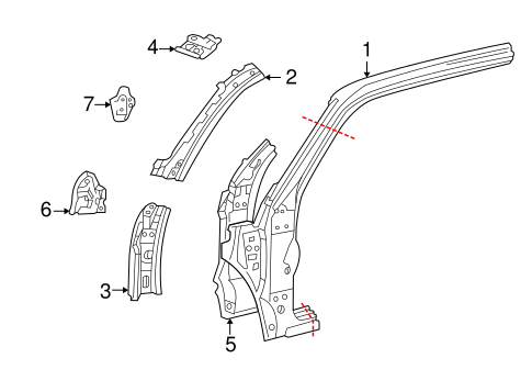 Genuine OEM HINGE PILLAR Parts for 2002 Toyota Tundra