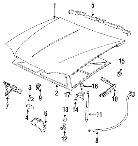 HOOD & COMPONENTS for 1999 Pontiac Bonneville