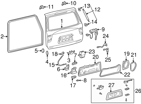 Genuine OEM LIFTGATE Parts for 2004 Toyota Sequoia Limited