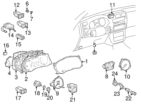 Genuine OEM CLUSTER & SWITCHES Parts for 1999 Toyota RAV4