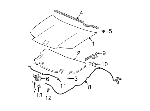 HOOD & COMPONENTS for 2004 Saturn Ion (3)