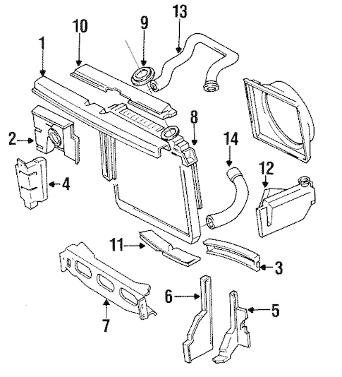 RADIATOR & COMPONENTS for 1989 Jeep Cherokee