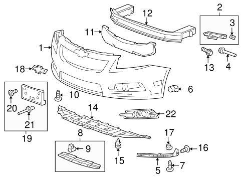 2012 Chevy Cruze Front Bumper Parts Diagram