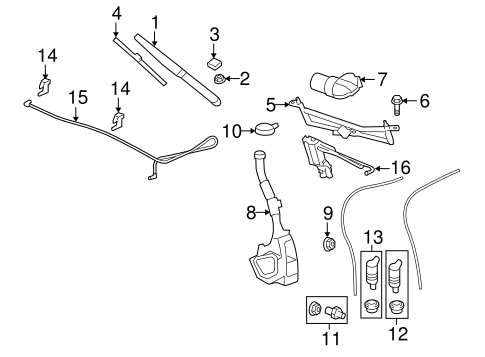 WIPER & WASHER COMPONENTS for 2008 Saturn Outlook (XR)