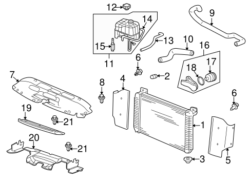 2002-2006 Cadillac Escalade & EXT Radiator Outlet Overflow