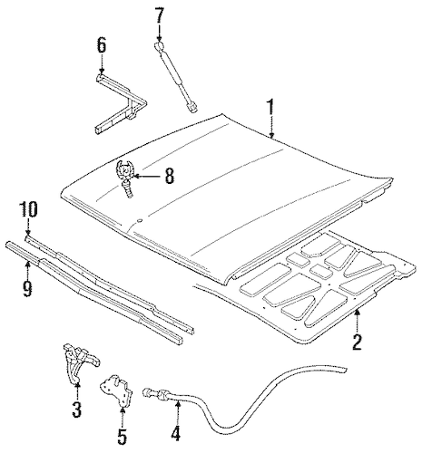 HOOD & COMPONENTS for 1992 Cadillac DeVille