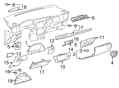 INSTRUMENT PANEL COMPONENTS for 2014 Toyota Corolla