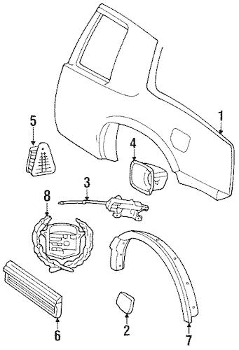 QUARTER PANEL & COMPONENTS for 1995 Cadillac Eldorado