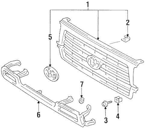 Genuine OEM GRILLE & COMPONENTS Parts for 1996 Toyota Land