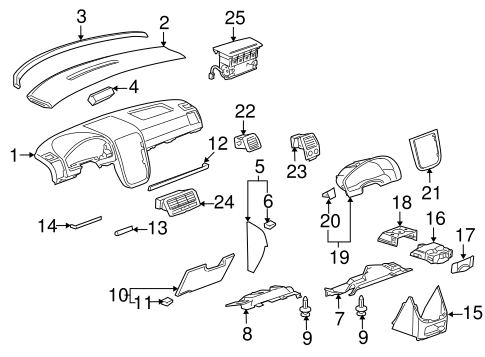 INSTRUMENT PANEL COMPONENTS for 2005 Pontiac Montana (SV6)