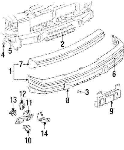 BUMPER COVER SUPPORT BRACKET for 1997 Jeep Grand Cherokee