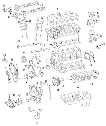 Genuine OEM ENGINE Parts for 1995 Toyota Tacoma Base