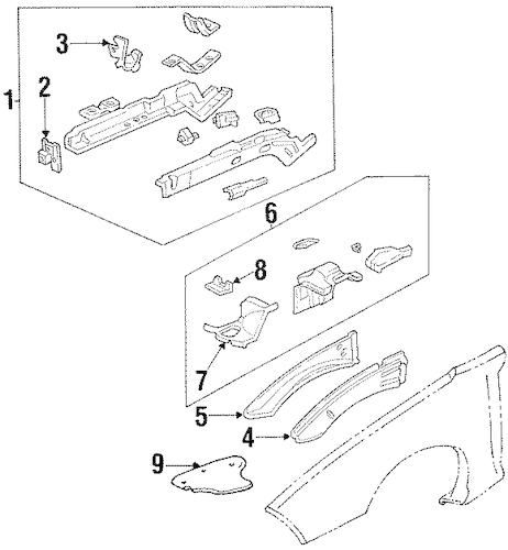 STRUCTURAL COMPONENTS & RAILS for 2002 Pontiac Firebird