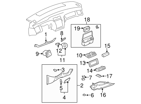 INSTRUMENT PANEL COMPONENTS for 2004 Toyota Avalon