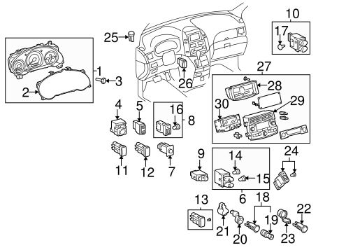 Genuine OEM CLUSTER & SWITCHES Parts for 2005 Toyota