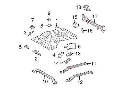 Genuine OEM REAR FLOOR & RAILS Parts for 2010 Toyota FJ
