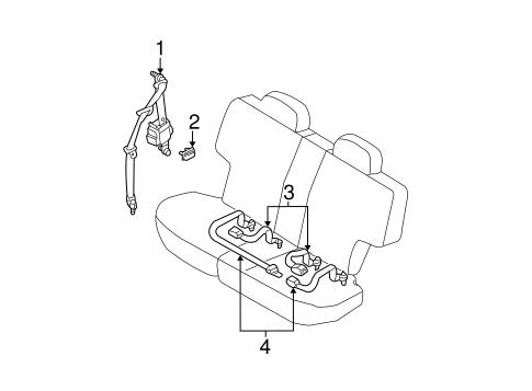 REAR SEAT BELTS for 2002 Nissan Pathfinder