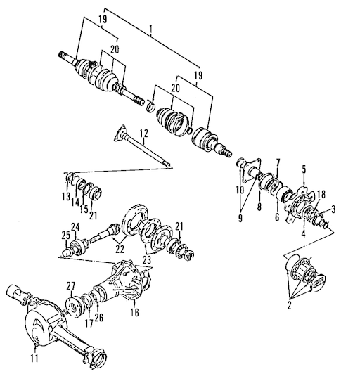 FRONT AXLE Parts for 2002 Chevrolet Tracker