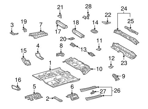 Genuine OEM FLOOR & RAILS Parts for 2004 Scion xB Base