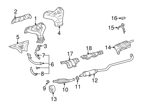 Genuine OEM EXHAUST MANIFOLD Parts for 2001 Toyota Corolla