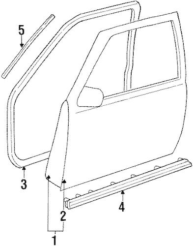 DOOR & COMPONENTS for 1994 GMC K1500 Pickup (Sierra SL)