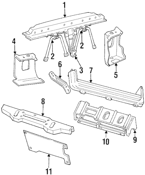 RADIATOR SUPPORT for 1998 Jeep Grand Cherokee