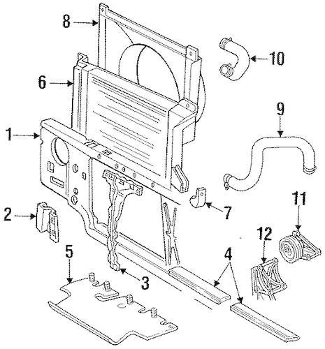 RADIATOR SUPPORT for 1997 Ford F-350
