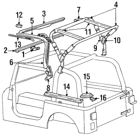 FRAME & COMPONENTS for 1994 Jeep Wrangler