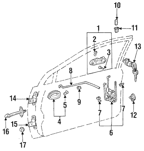 1997 Toyota Corolla Door Lock Parts Diagram, 1997, Free