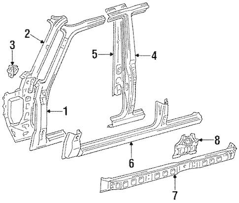 Genuine OEM CENTER PILLAR & ROCKER Parts for 1996 Toyota