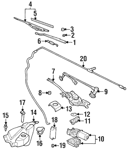 WIPER & WASHER COMPONENTS for 2001 Pontiac Grand Prix (GT)