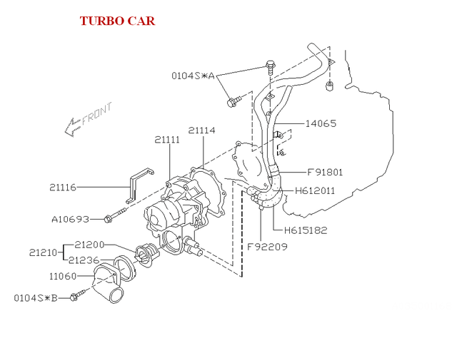 2002-2019 Subaru Hose, Lower By-pass For Water Pump